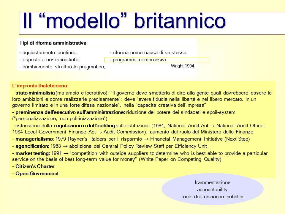 """- aggiustamento continuo, - risposta a crisi specifiche, - cambiamento strutturale pragmatico, Il """"modello"""" britannico L'impronta thatcheriana: - stat"""
