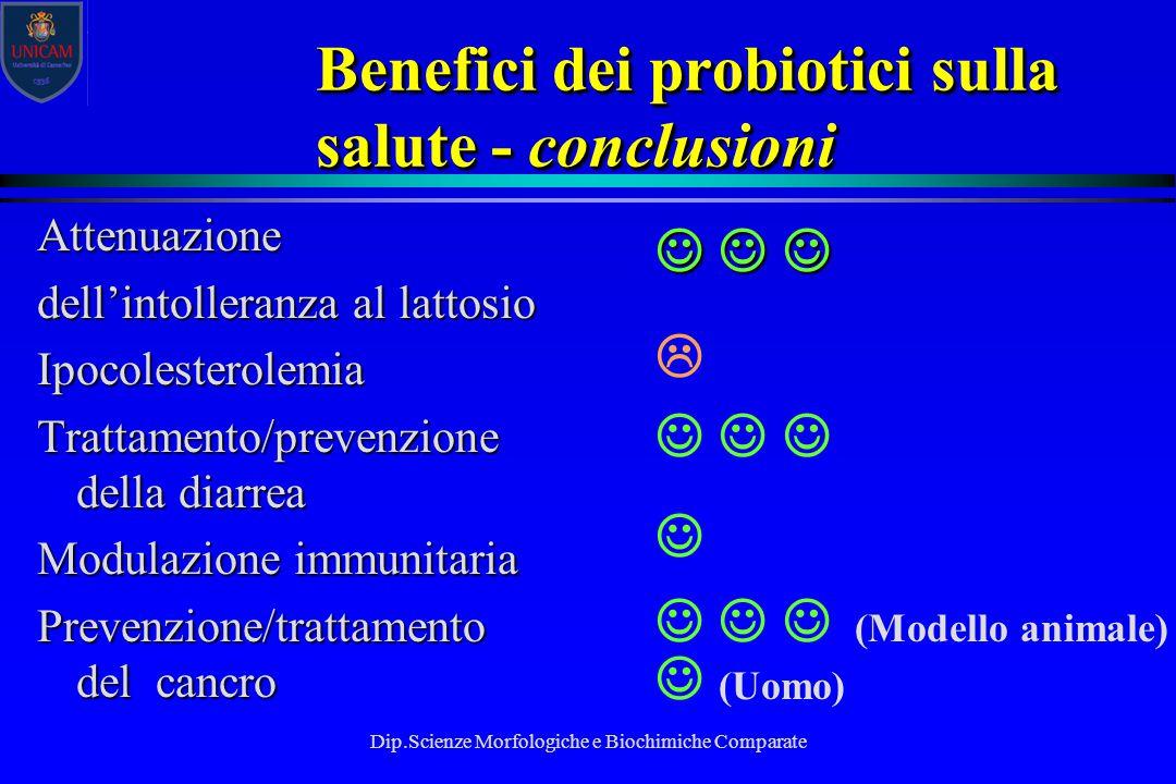 Dip.Scienze Morfologiche e Biochimiche Comparate Benefici dei probiotici sulla salute - conclusioni Attenuazione dell'intolleranza al lattosio Ipocole