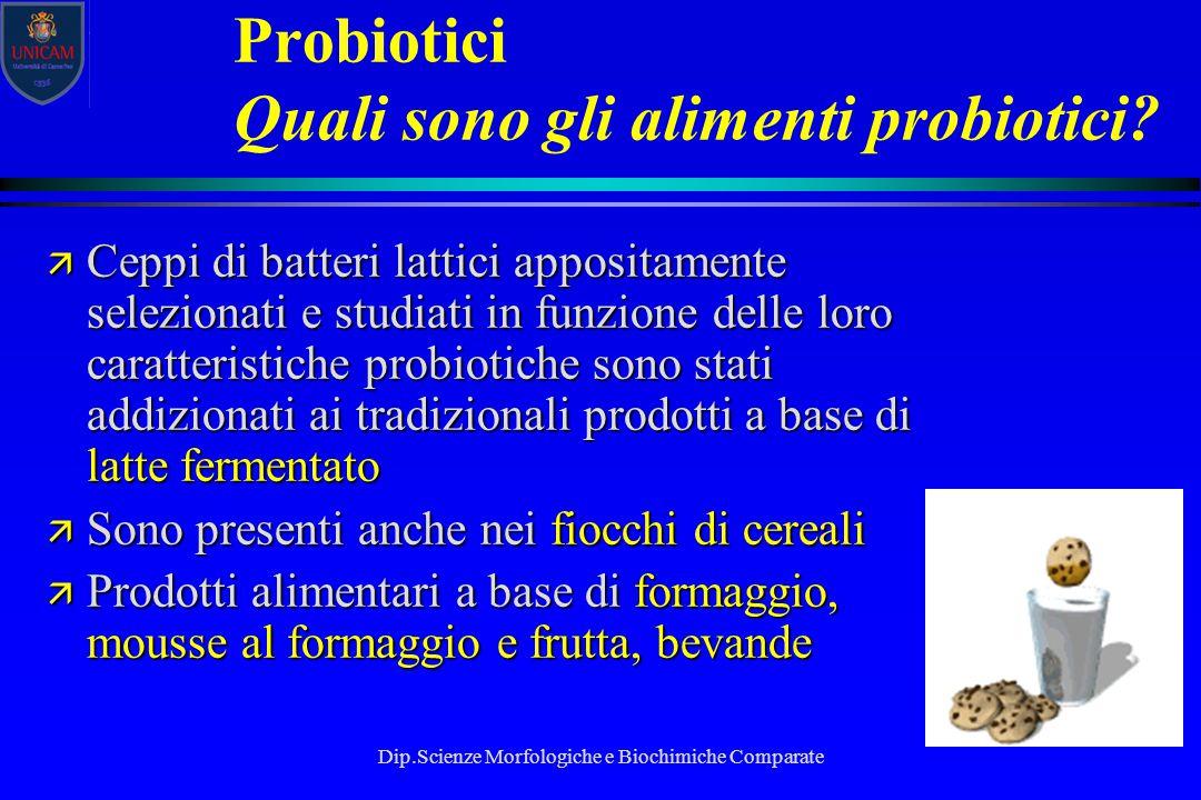 Dip.Scienze Morfologiche e Biochimiche Comparate Probiotici Quali sono gli alimenti probiotici? ä Ceppi di batteri lattici appositamente selezionati e