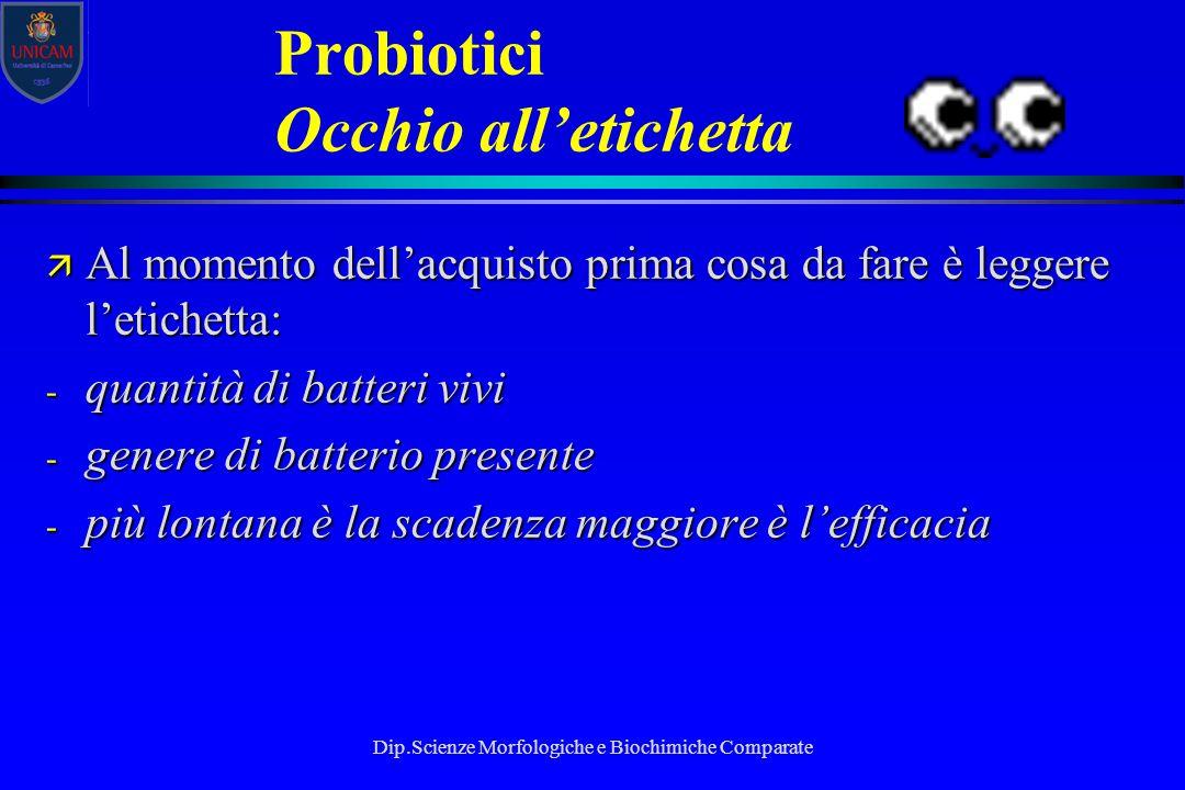 Dip.Scienze Morfologiche e Biochimiche Comparate Probiotici Occhio all'etichetta ä Al momento dell'acquisto prima cosa da fare è leggere l'etichetta:
