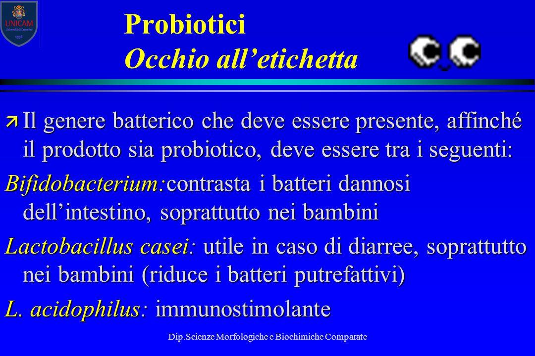 Dip.Scienze Morfologiche e Biochimiche Comparate Probiotici Occhio all'etichetta ä Il genere batterico che deve essere presente, affinché il prodotto