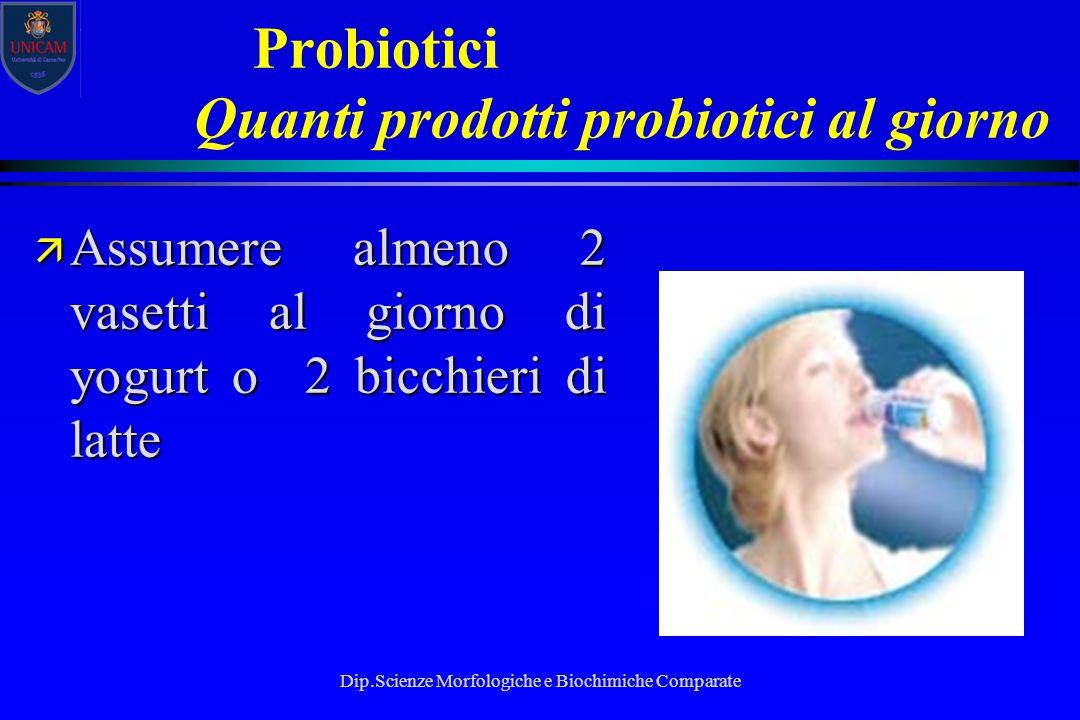 Dip.Scienze Morfologiche e Biochimiche Comparate Probiotici Quanti prodotti probiotici al giorno ä Assumere almeno 2 vasetti al giorno di yogurt o 2 b