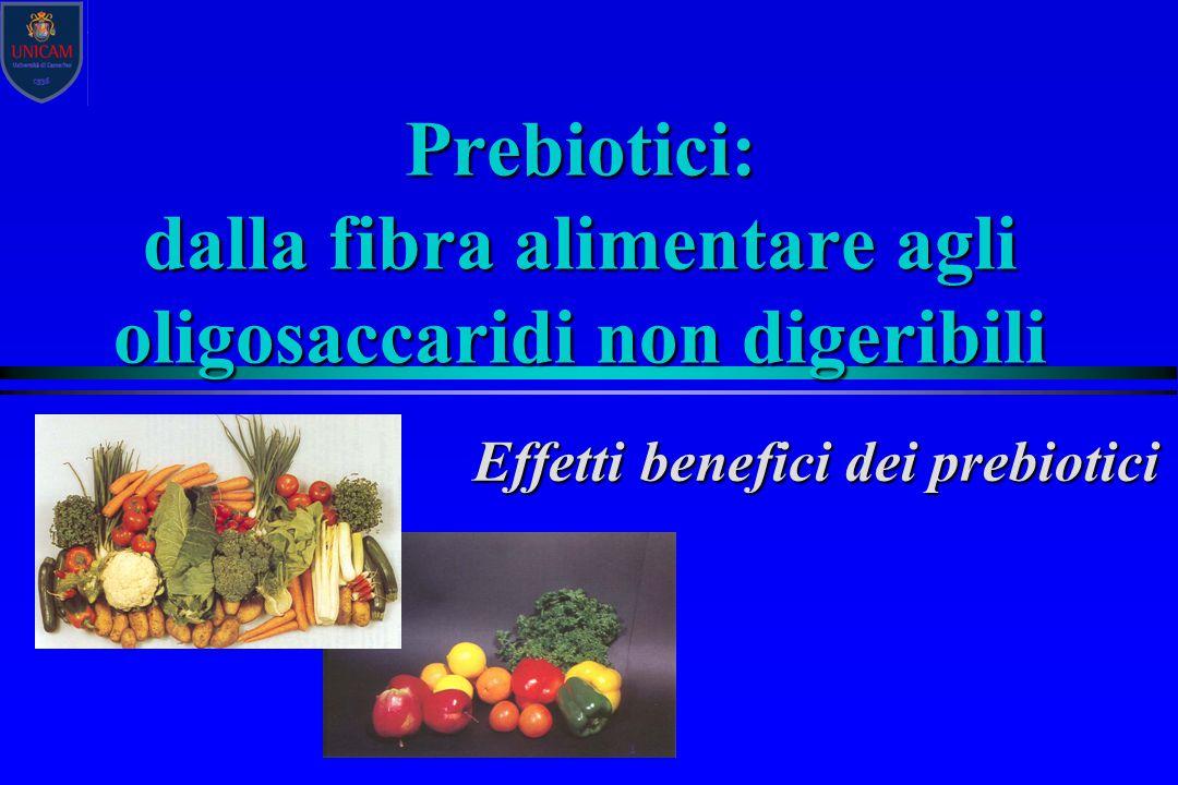 Prebiotici: dalla fibra alimentare agli oligosaccaridi non digeribili Effetti benefici dei prebiotici