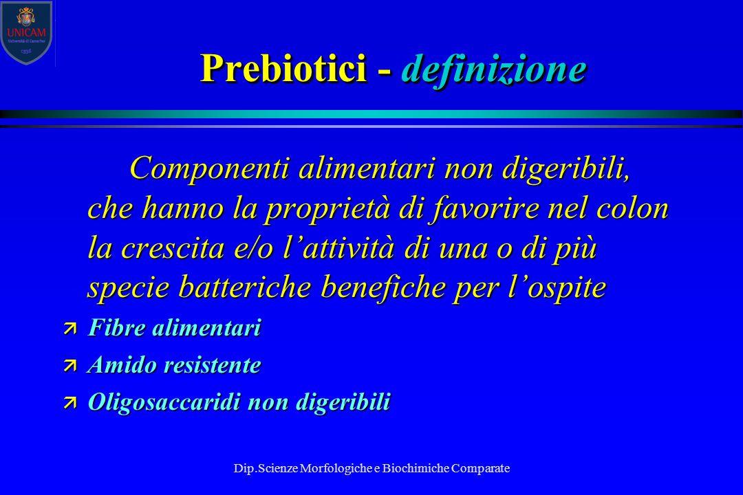 Dip.Scienze Morfologiche e Biochimiche Comparate Prebiotici - definizione Componenti alimentari non digeribili, che hanno la proprietà di favorire nel