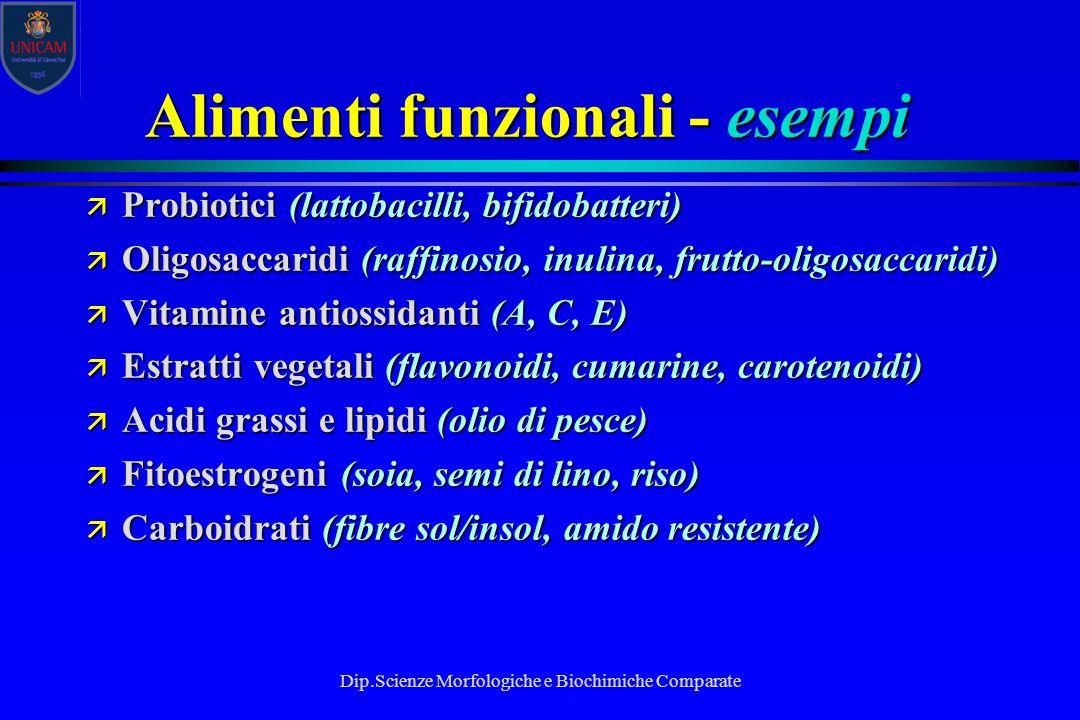 Dip.Scienze Morfologiche e Biochimiche Comparate Alimenti funzionali - esempi ä Probiotici (lattobacilli, bifidobatteri) ä Oligosaccaridi (raffinosio,
