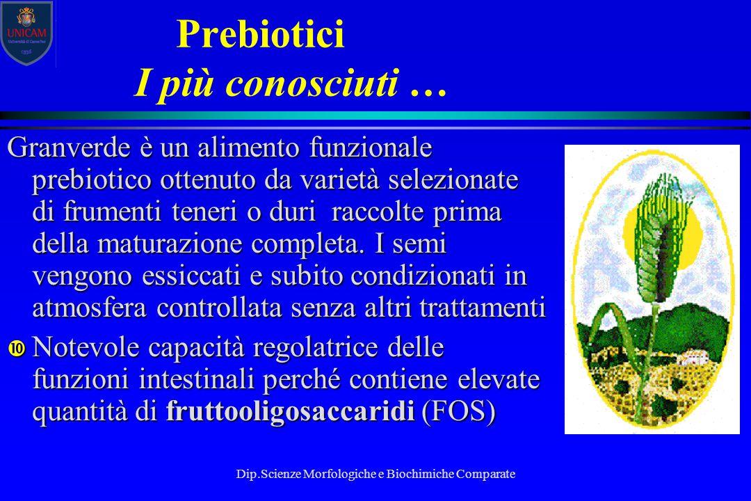 Dip.Scienze Morfologiche e Biochimiche Comparate Prebiotici I più conosciuti … Granverde è un alimento funzionale prebiotico ottenuto da varietà selez