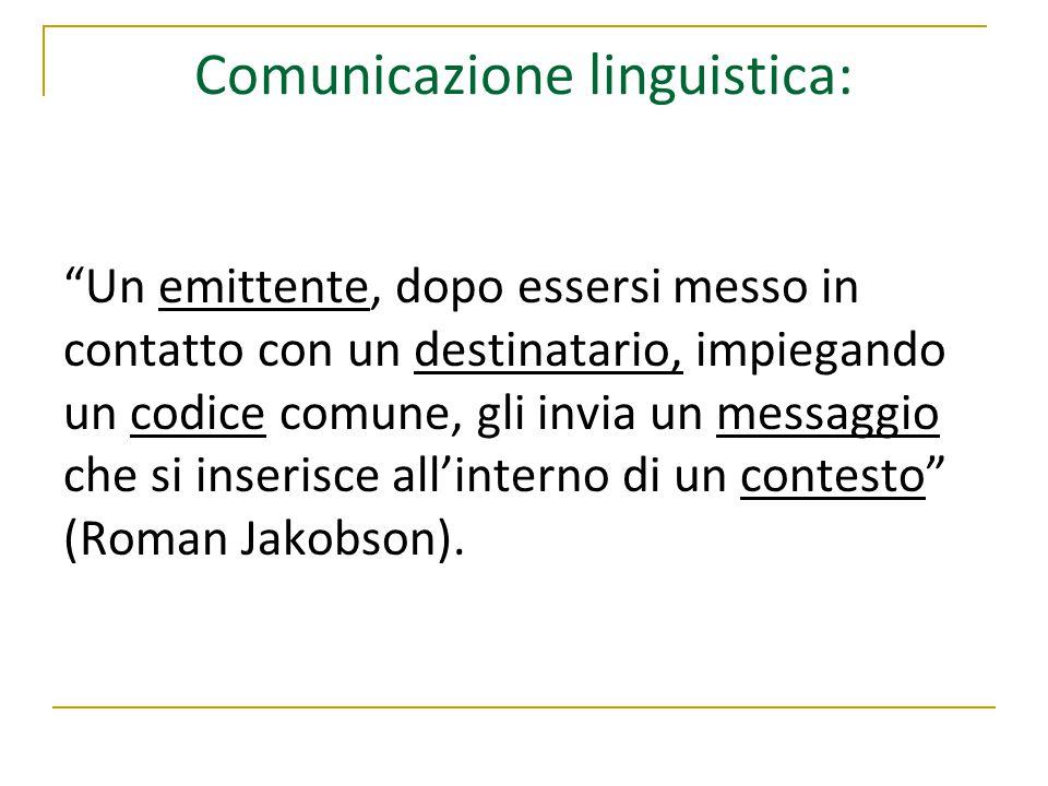 """Comunicazione linguistica: """"Un emittente, dopo essersi messo in contatto con un destinatario, impiegando un codice comune, gli invia un messaggio che"""