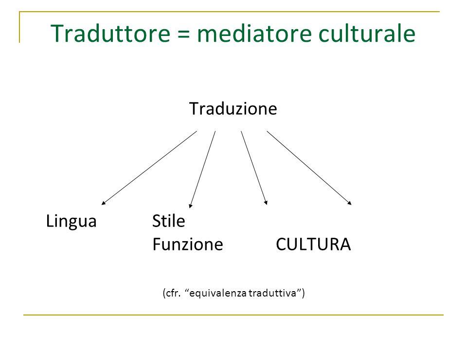 """Traduttore = mediatore culturale Traduzione LinguaStile FunzioneCULTURA (cfr. """"equivalenza traduttiva"""")"""