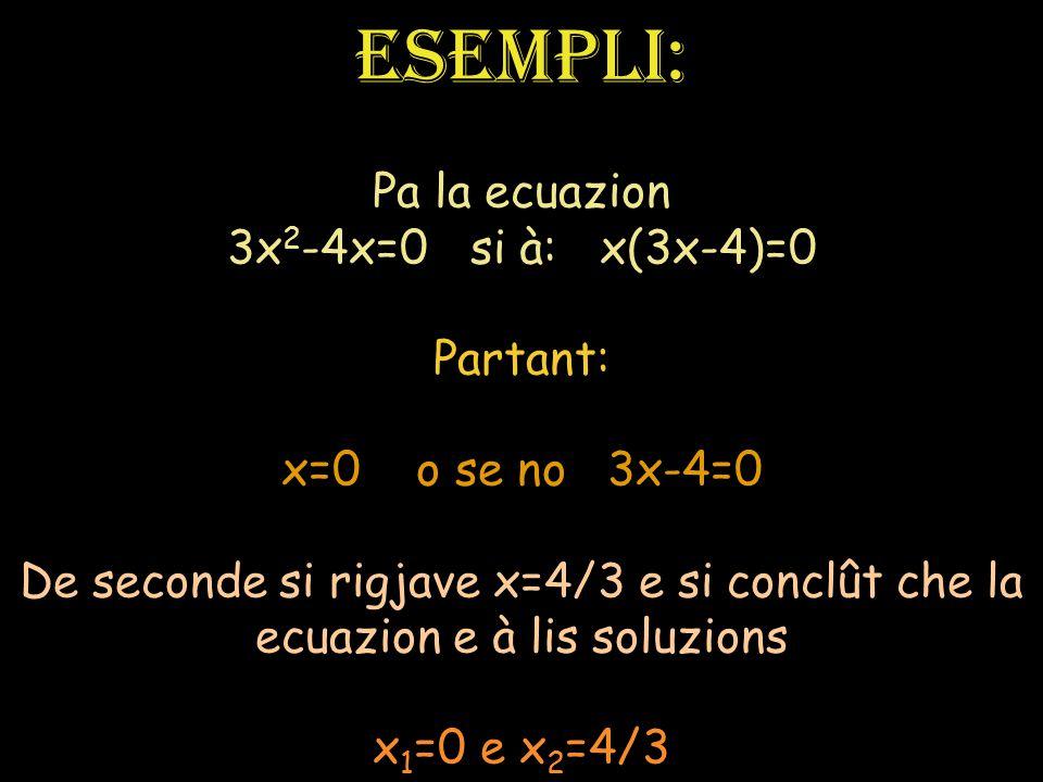 La ecuazion e à dôs soluzions reâls une des dôs e je simpri compagne a 0