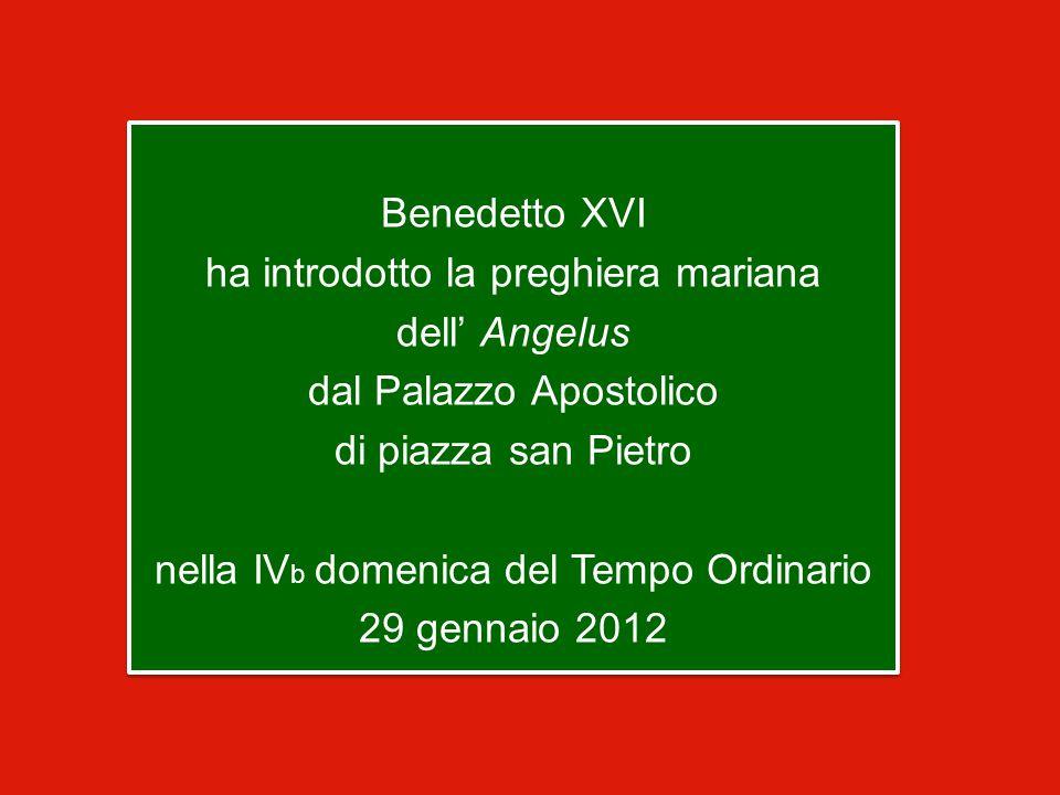 Benedetto XVI ha introdotto la preghiera mariana dell' Angelus dal Palazzo Apostolico di piazza san Pietro nella IV b domenica del Tempo Ordinario 29 gennaio 2012 Benedetto XVI ha introdotto la preghiera mariana dell' Angelus dal Palazzo Apostolico di piazza san Pietro nella IV b domenica del Tempo Ordinario 29 gennaio 2012
