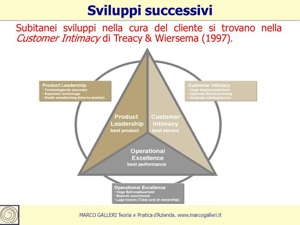 Subitanei sviluppi nella cura del cliente si trovano nella Customer Intimacy di Treacy & Wiersema (1997). Sviluppi successivi 16 MARCO GALLERI Teoria