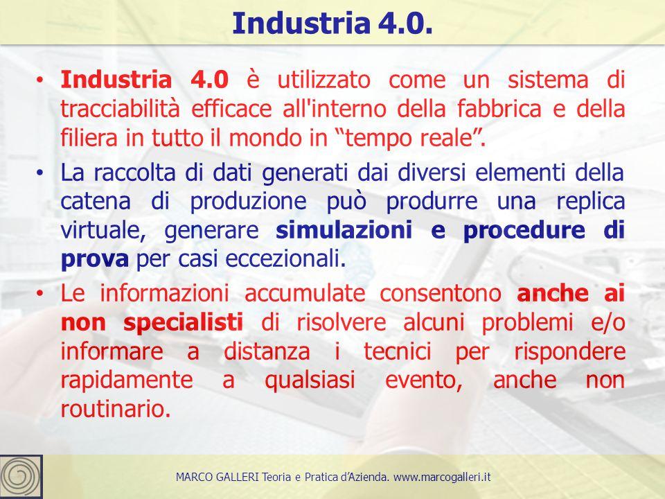"""Industria 4.0 è utilizzato come un sistema di tracciabilità efficace all'interno della fabbrica e della filiera in tutto il mondo in """"tempo reale"""". La"""
