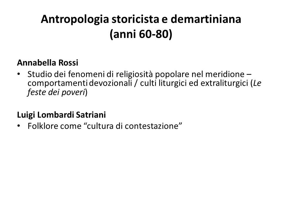 Antropologia storicista e demartiniana (anni 60-80) Annabella Rossi Studio dei fenomeni di religiosità popolare nel meridione – comportamenti devozion