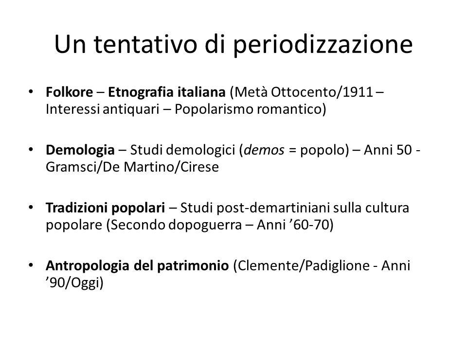 Antropologia demologica italiana Cultura popolare e concetto di cultura Due concezioni di cultura si alternano e si incontrano tra '800 e '900 nello studio della cultura popolare : 1) Concezione ottocentesca = folklore come manners – usi e costumi.