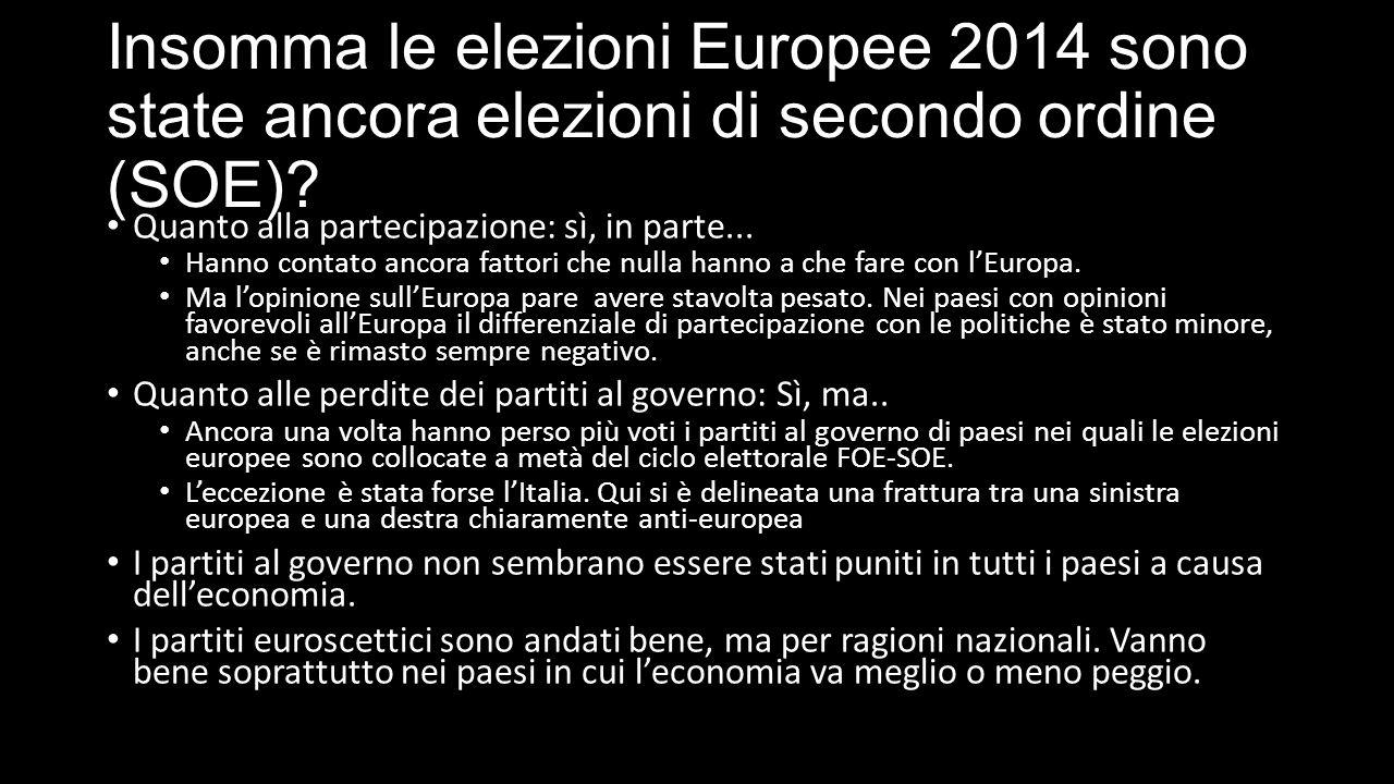 Insomma le elezioni Europee 2014 sono state ancora elezioni di secondo ordine (SOE).