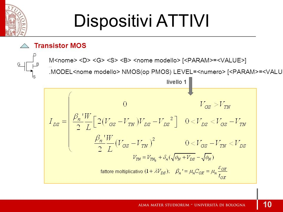 Dispositivi ATTIVI 10 Transistor MOS M [ = ] ….MODEL NMOS(op PMOS) LEVEL= [ = ] D S GB livello 1 fattore moltiplicativo