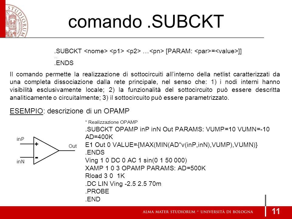 comando.SUBCKT 11 Il comando permette la realizzazione di sottocircuiti all'interno della netlist caratterizzati da una completa dissociazione dalla r