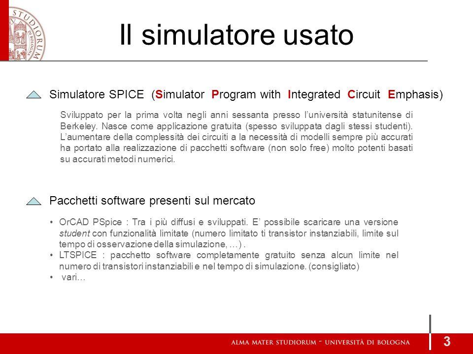Il simulatore usato 3 Simulatore SPICE (Simulator Program with Integrated Circuit Emphasis) Sviluppato per la prima volta negli anni sessanta presso l