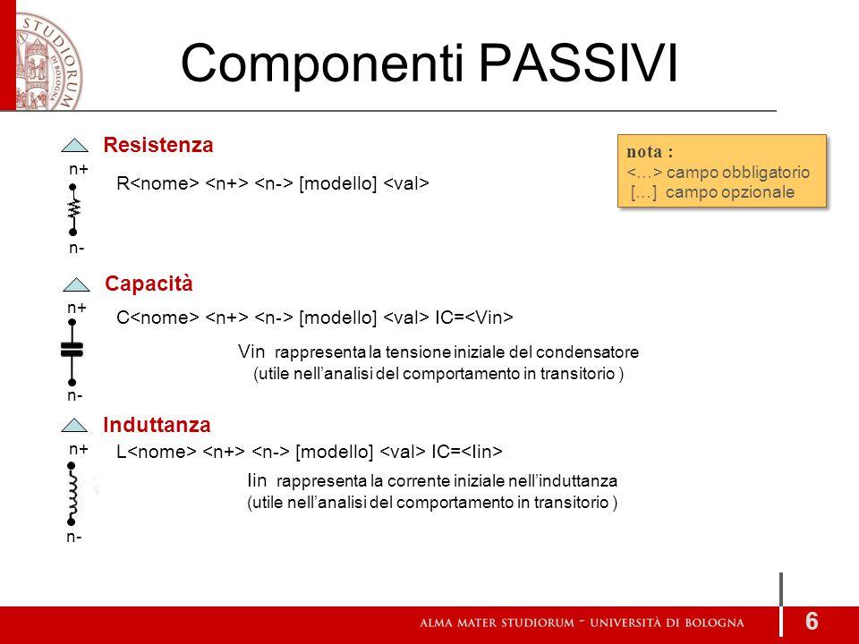 Componenti PASSIVI 6 Resistenza Induttanza Capacità n+ n- n+ n- n+ n- R [modello] C [modello] IC= L [modello] IC= Vin rappresenta la tensione iniziale