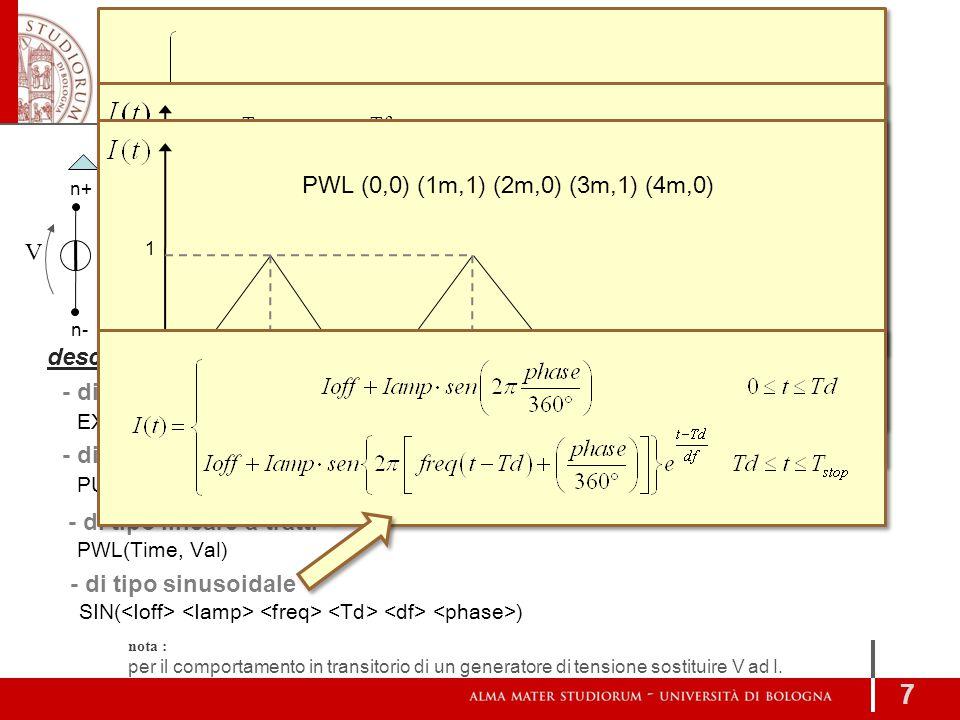 V DC [AC [ ]] [...] I DC [AC [ ] ][...] GENERATORI 7 Ideali n- n+ V n- I generatore di tensione generatore di corrente descrizione aggiuntiva EXP( ) -