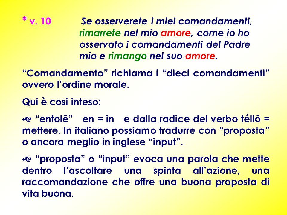 """* v. 10 Se osserverete i miei comandamenti, rimarrete nel mio amore, come io ho osservato i comandamenti del Padre mio e rimango nel suo amore. """"Coman"""