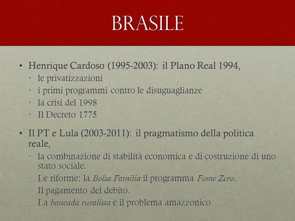 brasile Henrique Cardoso (1995-2003): il Plano Real 1994,Henrique Cardoso (1995-2003): il Plano Real 1994, le privatizzazionile privatizzazioni i primi programmi contro le disuguaglianzei primi programmi contro le disuguaglianze la crisi del 1998la crisi del 1998 Il Decreto 1775Il Decreto 1775 Il PT e Lula (2003-2011): il pragmatismo della politica reale,Il PT e Lula (2003-2011): il pragmatismo della politica reale, la combinazione di stabilità economica e di costruzione di uno stato sociale.la combinazione di stabilità economica e di costruzione di uno stato sociale.
