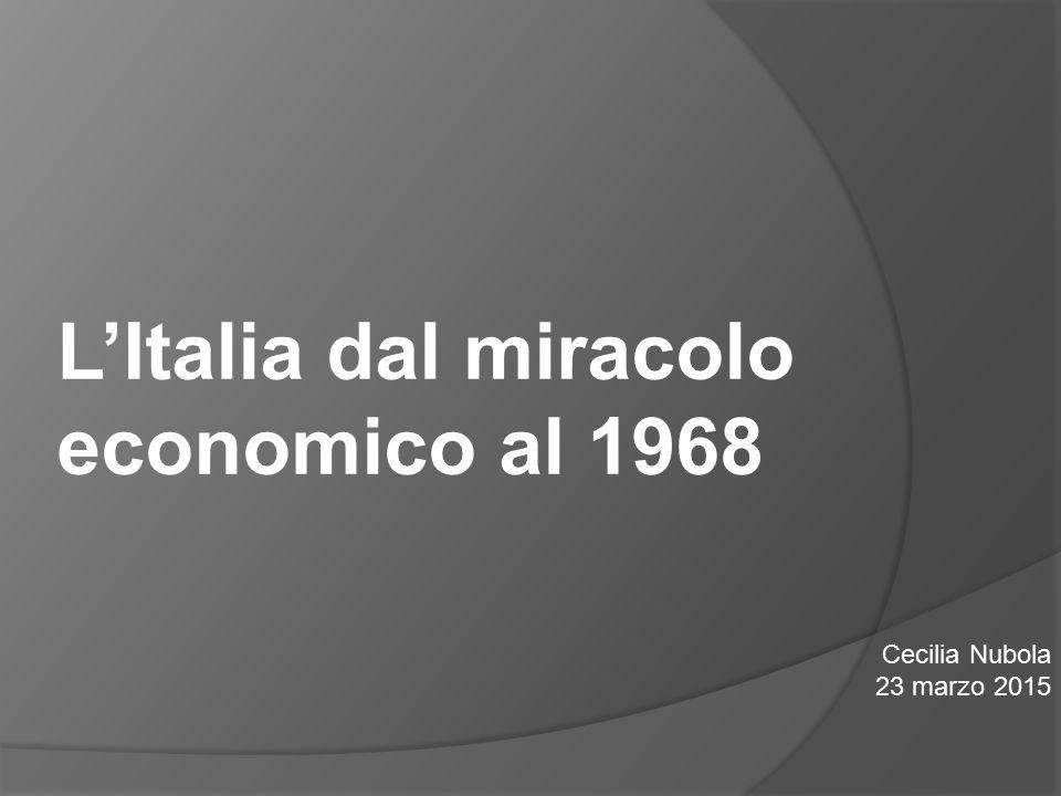 La politica italiana: il centro sinistra  1963 Aldo Moro compose il primo governo di centro-sinistra formato da DC, PSI, PSDI e PRI.