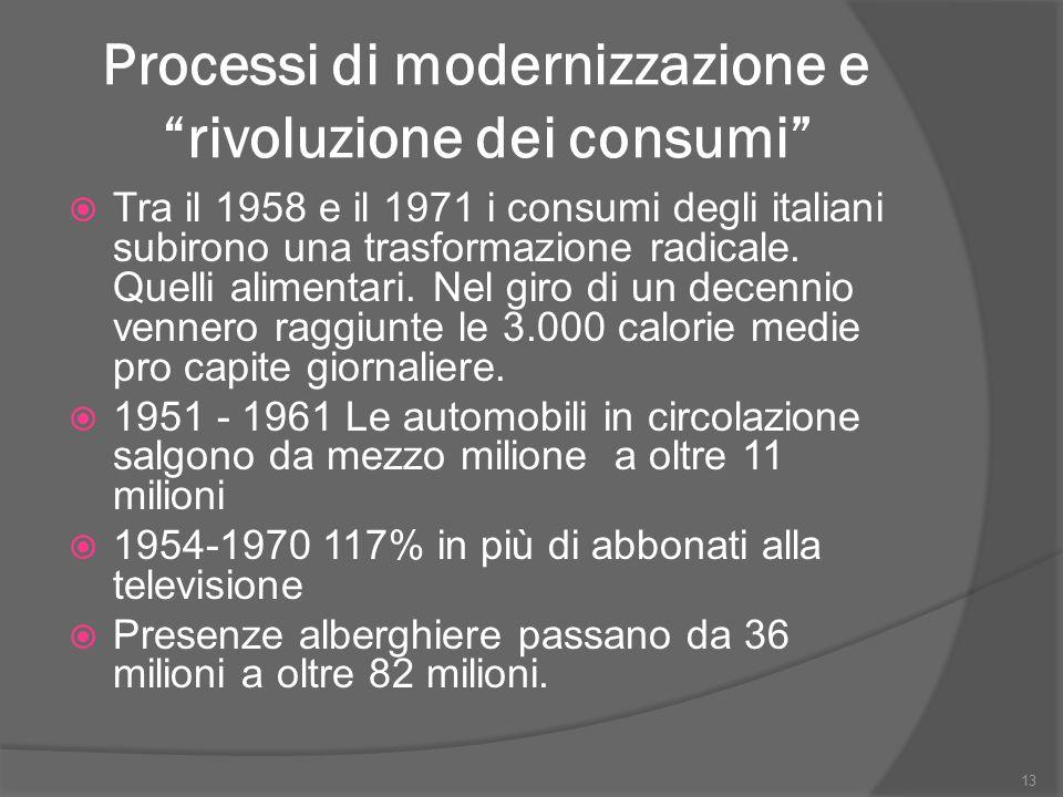 """Processi di modernizzazione e """"rivoluzione dei consumi""""  Tra il 1958 e il 1971 i consumi degli italiani subirono una trasformazione radicale. Quelli"""