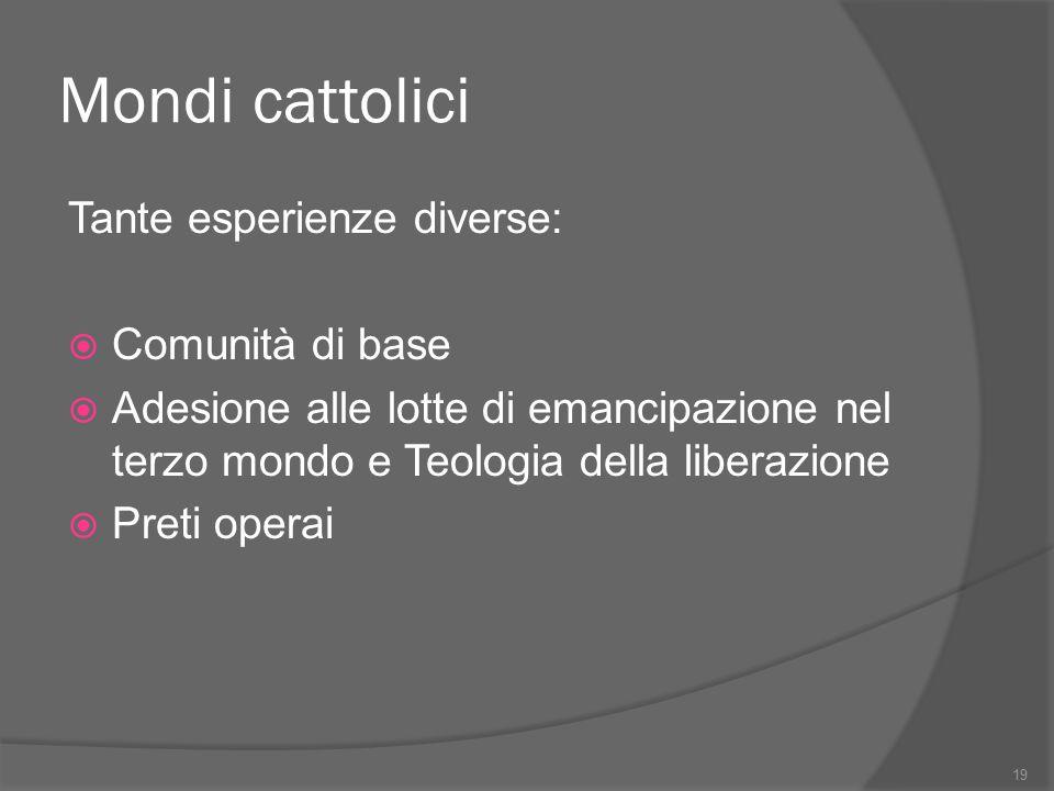 Mondi cattolici Tante esperienze diverse:  Comunità di base  Adesione alle lotte di emancipazione nel terzo mondo e Teologia della liberazione  Pre