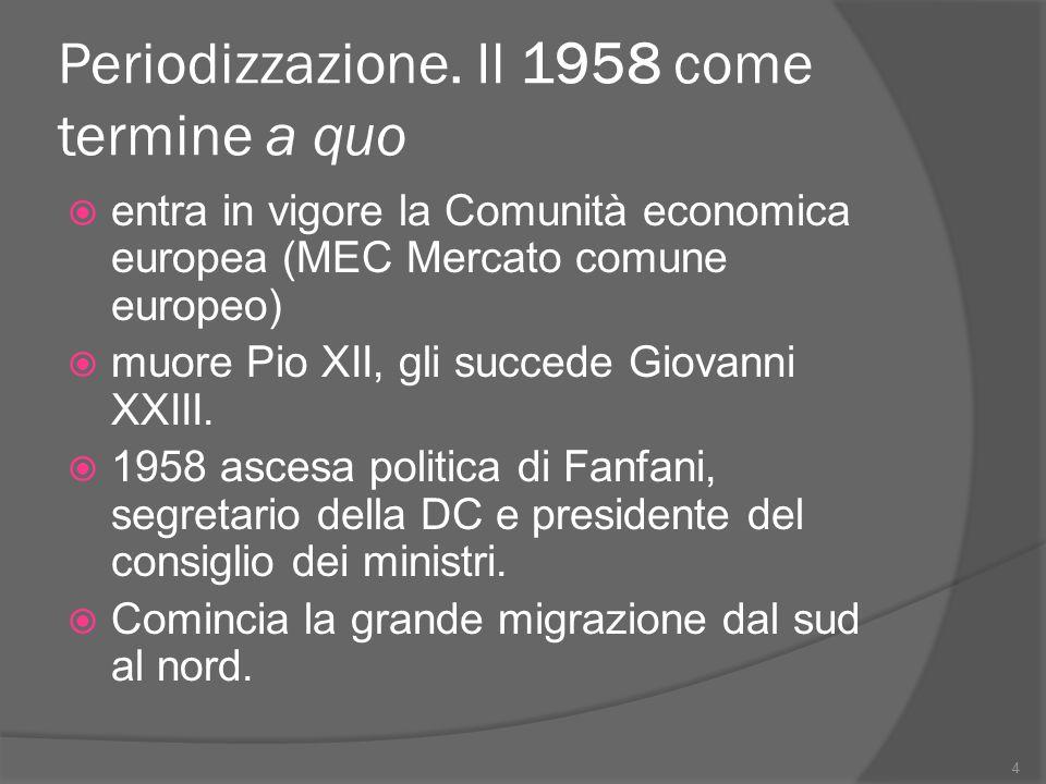 Periodizzazione. Il 1958 come termine a quo  entra in vigore la Comunità economica europea (MEC Mercato comune europeo)  muore Pio XII, gli succede