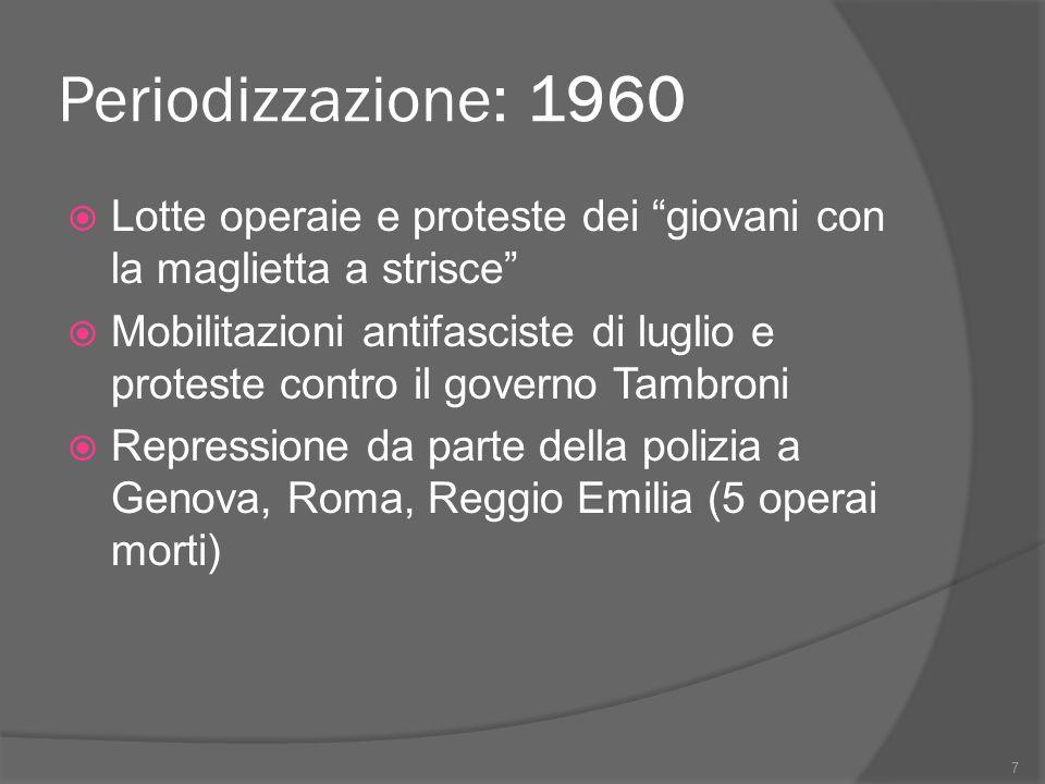 """Periodizzazione: 1960  Lotte operaie e proteste dei """"giovani con la maglietta a strisce""""  Mobilitazioni antifasciste di luglio e proteste contro il"""