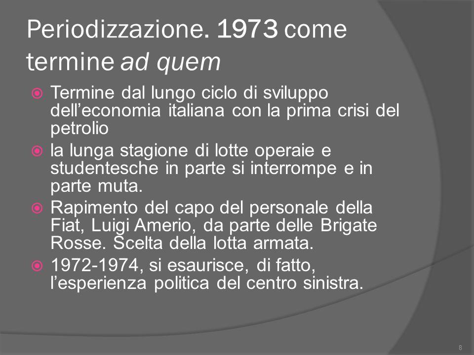 Periodizzazione. 1973 come termine ad quem  Termine dal lungo ciclo di sviluppo dell'economia italiana con la prima crisi del petrolio  la lunga sta