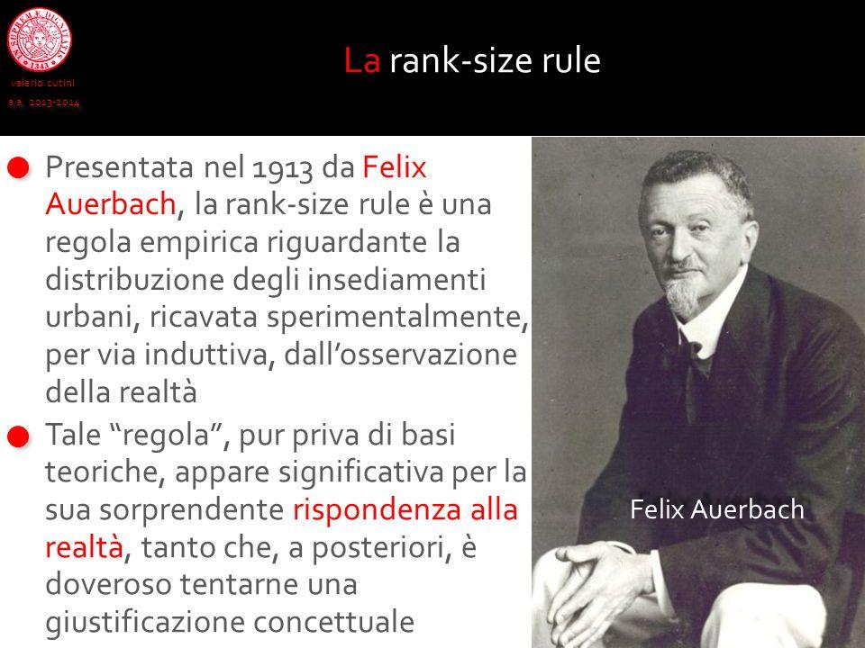 valerio cutini a.a. 2013-2014 La rank-size rule Presentata nel 1913 da Felix Auerbach, la rank-size rule è una regola empirica riguardante la distribu
