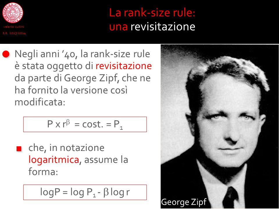 valerio cutini a.a. 2013-2014 La rank-size rule: una revisitazione Negli anni '40, la rank-size rule è stata oggetto di revisitazione da parte di Geor