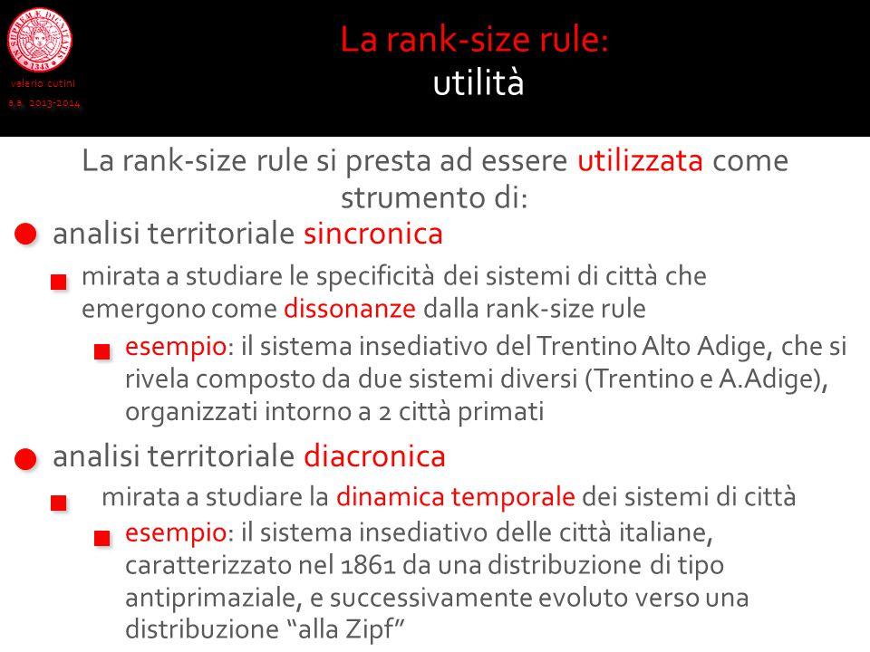 valerio cutini a.a. 2013-2014 La rank-size rule: utilità analisi territoriale sincronica analisi territoriale diacronica mirata a studiare le specific