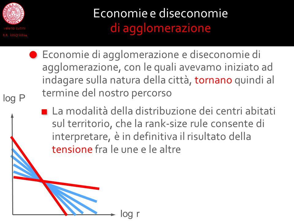 valerio cutini a.a. 2013-2014 Economie e diseconomie di agglomerazione Economie di agglomerazione e diseconomie di agglomerazione, con le quali avevam