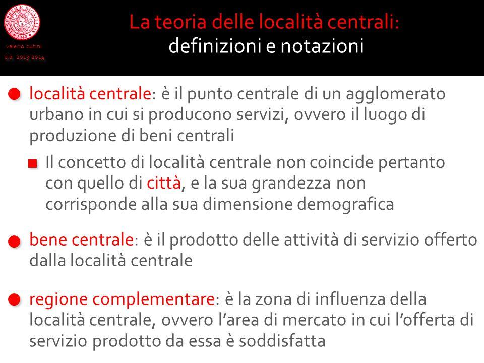 valerio cutini a.a. 2013-2014 La teoria delle località centrali: definizioni e notazioni località centrale: è il punto centrale di un agglomerato urba