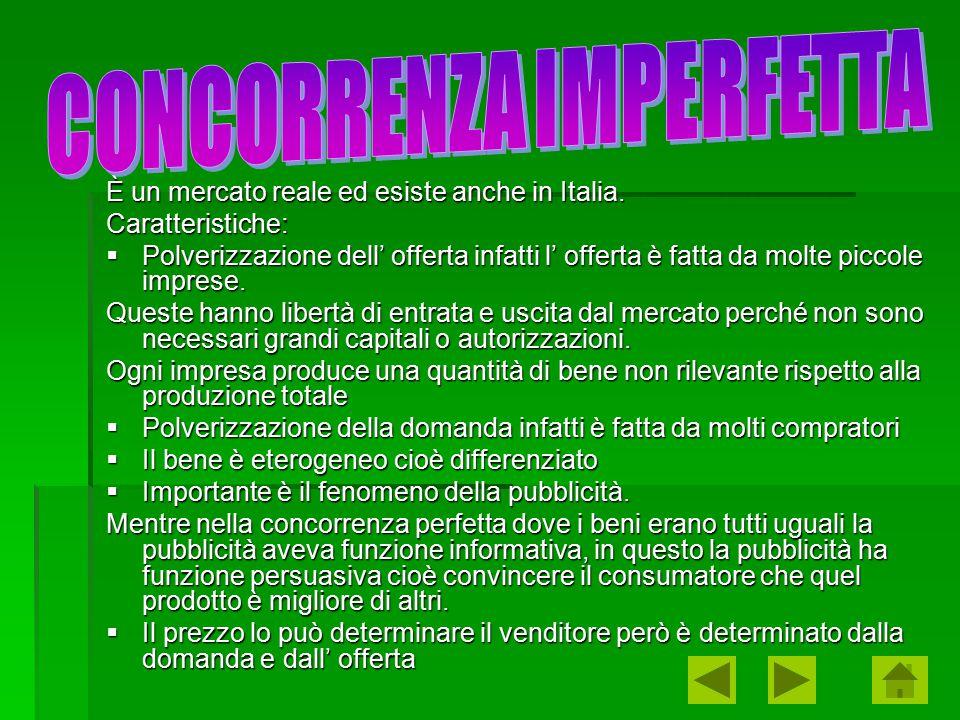 È un mercato reale ed esiste anche in Italia. Caratteristiche:  Polverizzazione dell' offerta infatti l' offerta è fatta da molte piccole imprese. Qu