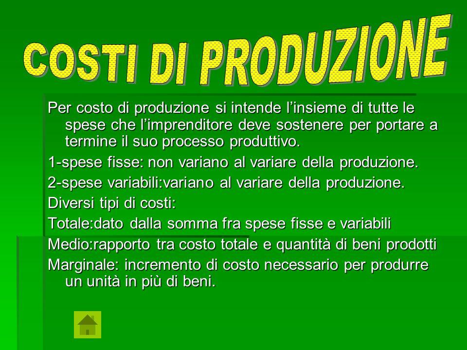 Per costo di produzione si intende l'insieme di tutte le spese che l'imprenditore deve sostenere per portare a termine il suo processo produttivo. 1-s