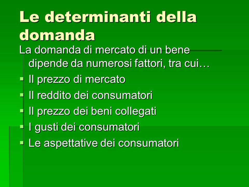 Le determinanti della domanda La domanda di mercato di un bene dipende da numerosi fattori, tra cui…  Il prezzo di mercato  Il reddito dei consumato