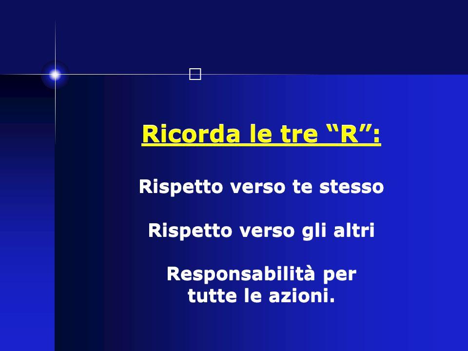 """Ricorda le tre """"R"""": Rispetto verso te stesso Rispetto verso gli altri Responsabilità per tutte le azioni."""