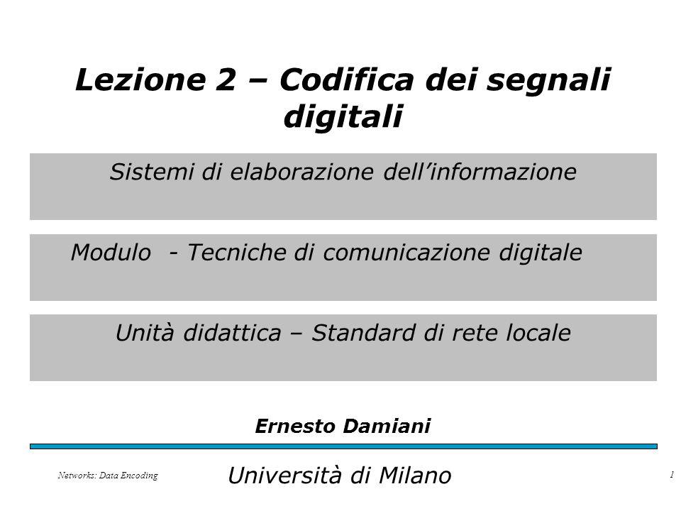 Sistemi di elaborazione dell'informazione Modulo - Tecniche di comunicazione digitale Unità didattica – Standard di rete locale Ernesto Damiani Università di Milano Lezione 2 – Codifica dei segnali digitali Networks: Data Encoding 1