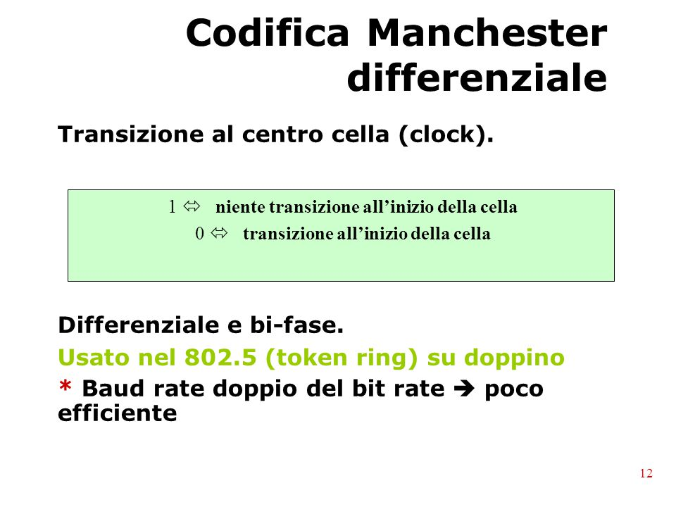 Codifica Manchester differenziale Transizione al centro cella (clock). Differenziale e bi-fase. Usato nel 802.5 (token ring) su doppino * Baud rate do
