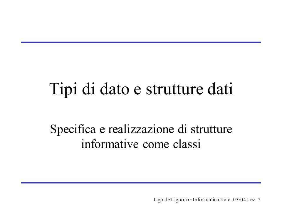 Ugo de'Liguoro - Informatica 2 a.a. 03/04 Lez. 7 Tipi di dato e strutture dati Specifica e realizzazione di strutture informative come classi