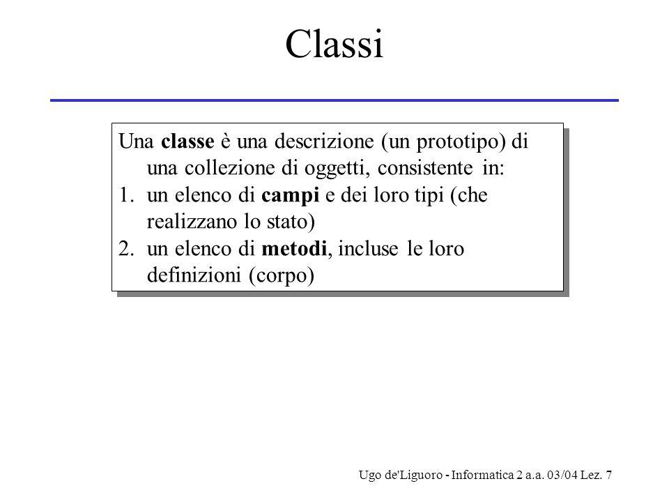 Ugo de'Liguoro - Informatica 2 a.a. 03/04 Lez. 7 Classi Una classe è una descrizione (un prototipo) di una collezione di oggetti, consistente in: 1.un