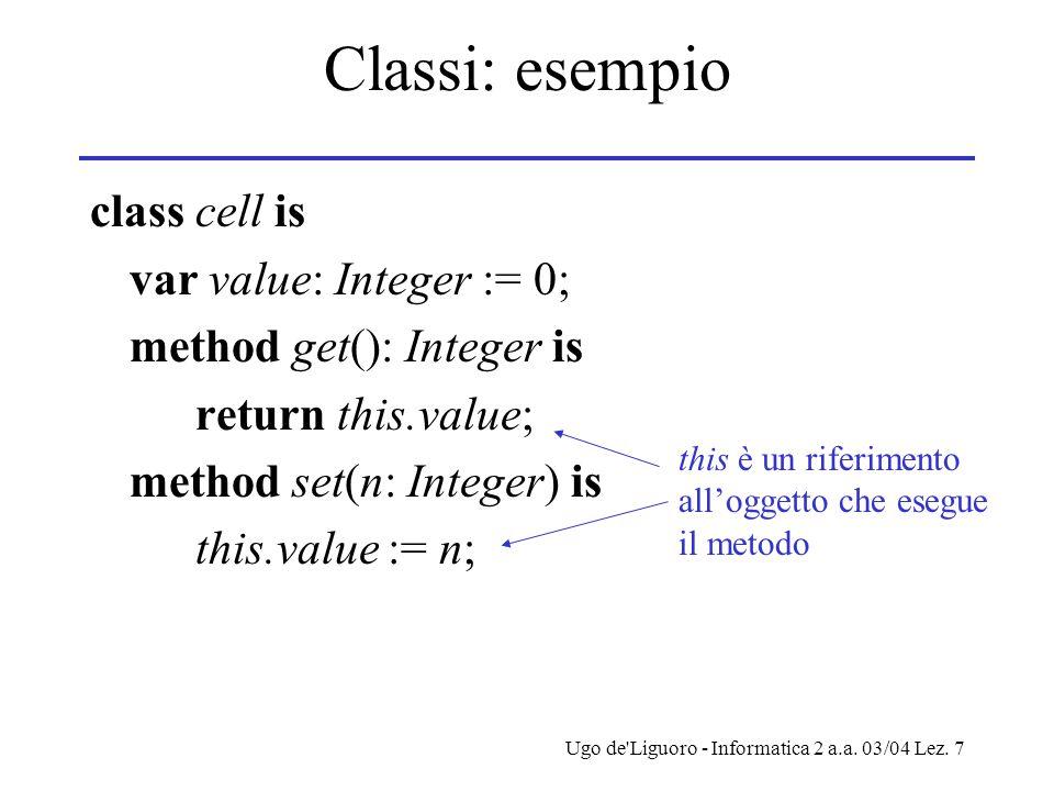 Ugo de'Liguoro - Informatica 2 a.a. 03/04 Lez. 7 Classi: esempio class cell is var value: Integer := 0; method get(): Integer is return this.value; me
