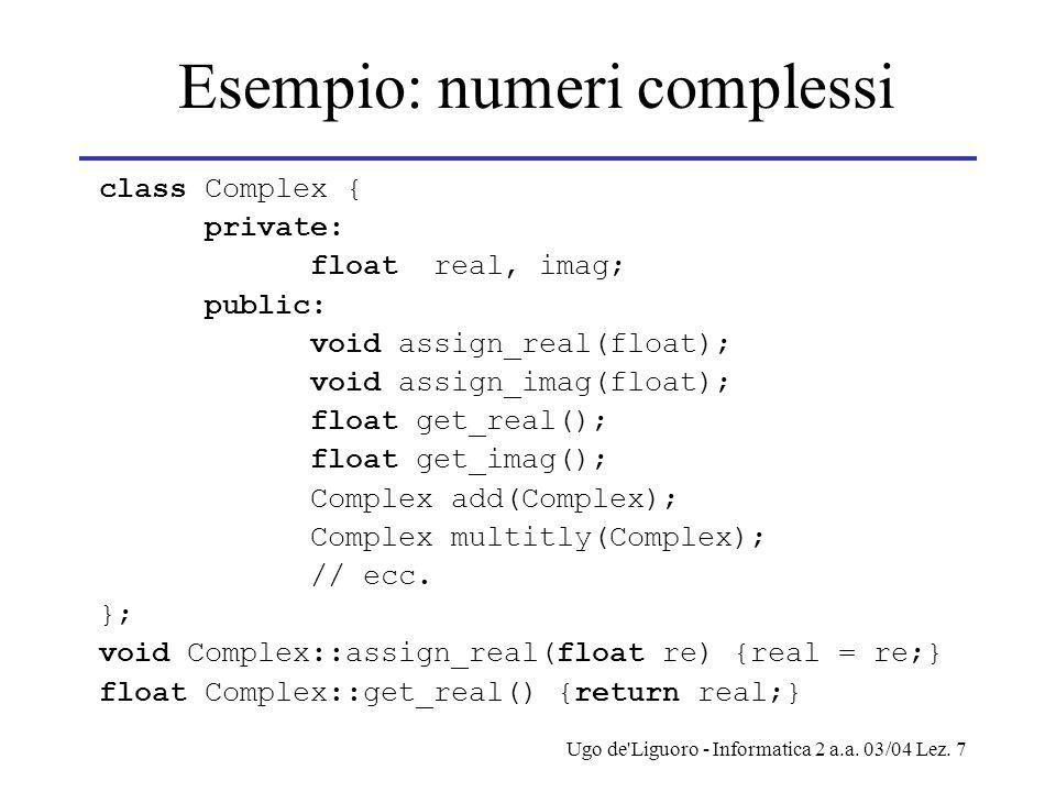 Ugo de'Liguoro - Informatica 2 a.a. 03/04 Lez. 7 Esempio: numeri complessi class Complex { private: float real, imag; public: void assign_real(float);