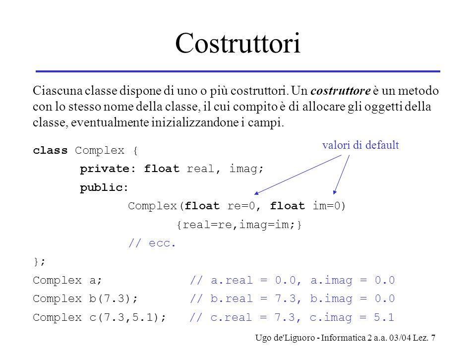 Ugo de'Liguoro - Informatica 2 a.a. 03/04 Lez. 7 Costruttori Ciascuna classe dispone di uno o più costruttori. Un costruttore è un metodo con lo stess