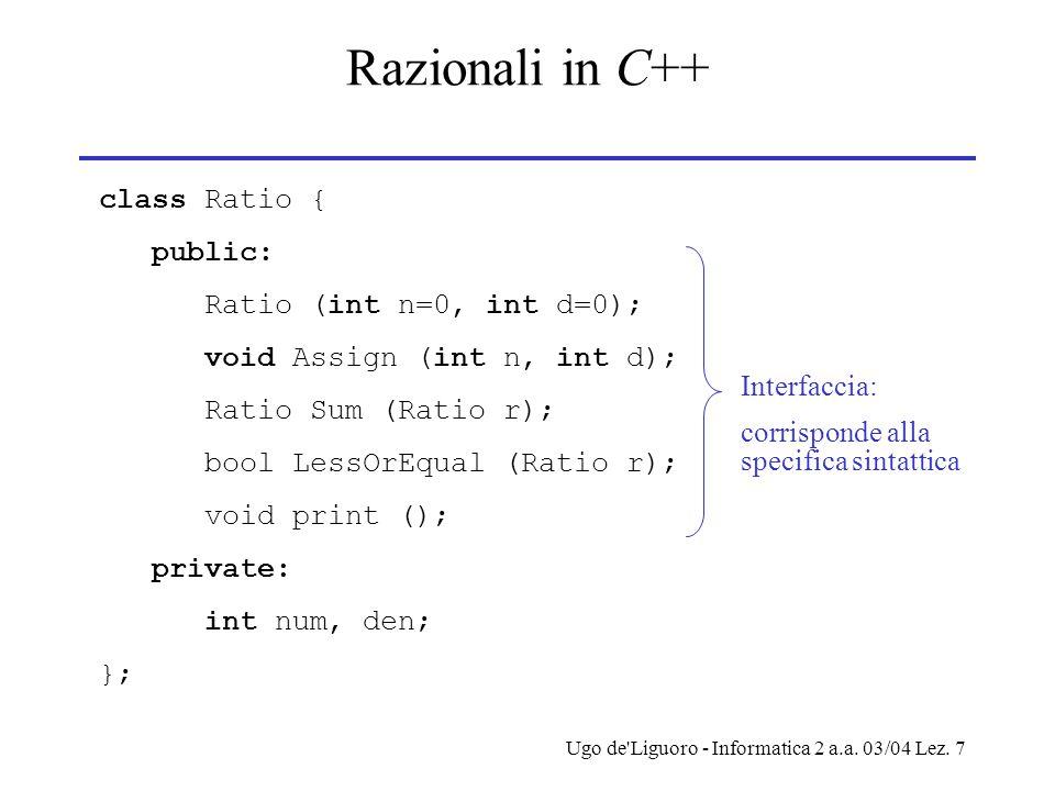 Ugo de'Liguoro - Informatica 2 a.a. 03/04 Lez. 7 Razionali in C++ class Ratio { public: Ratio (int n=0, int d=0); void Assign (int n, int d); Ratio Su