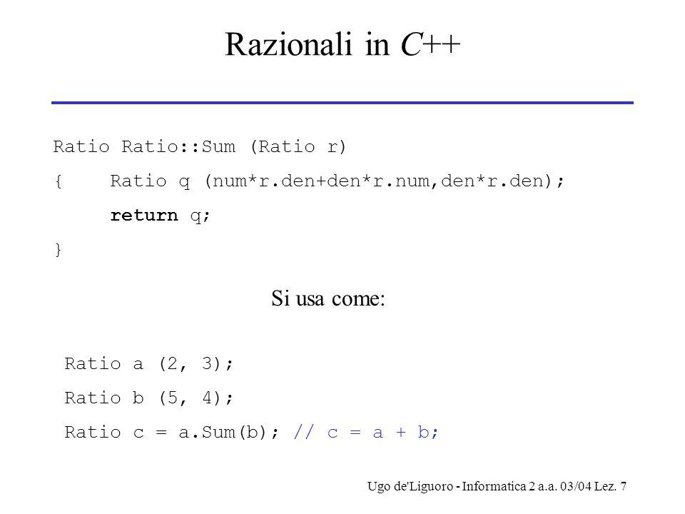 Ugo de'Liguoro - Informatica 2 a.a. 03/04 Lez. 7 Razionali in C++ Ratio Ratio::Sum (Ratio r) { Ratio q (num*r.den+den*r.num,den*r.den); return q; } Si